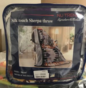 Southwest Design Silk Touch Sherpa Lined Throw Blanket Measures 50 by 60 inches - Grey for Sale in Henderson, NV