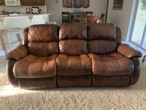 Leather reclining sofa and loveseat glider for Sale in Palm Shores, FL