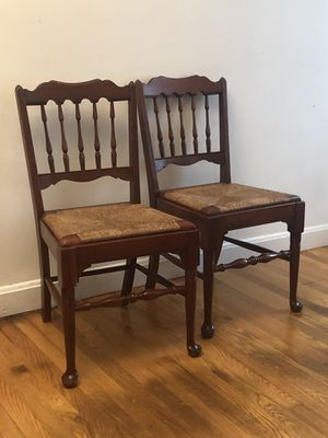 Antique Pennsylvania Chair Set of 2 - Wooden Frame Wicker Base for Sale in Martinsburg, WV