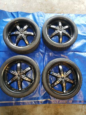 4 Wheels (Rims) 20x8.5, Viscera 841 Black with Chrome Inserts and tires for Sale in Houston, TX