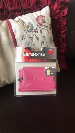 Samsnite Vinyl ID Tags 2 PACK- Hot Pink- LUGGAGE TAGS. Condition is New. for Sale in Carlsbad, CA