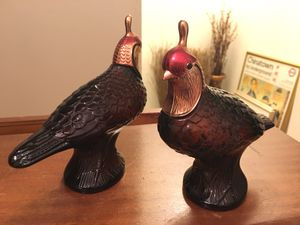 Pair of Vintage Collectible Avon Glass Quail Fragrance Decanter Figurines for Sale in Baltimore, MD