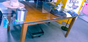 Large glass top dining room table beautiful 74.5 in Long half inch thick glass $95 for Sale in Phoenix, AZ
