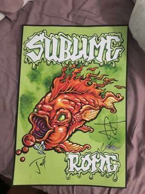 SIGNED SUBLIME WITH ROME POSTER with NEW sublime zippo lighter and VIP pass from concert for Sale in Houston, TX