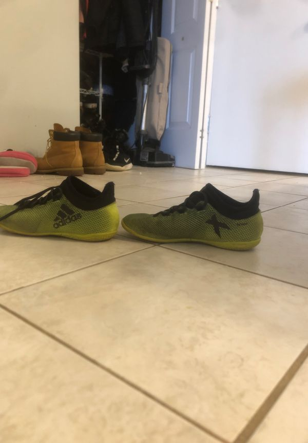 Green adidas indoor soccer shoes(size 5)