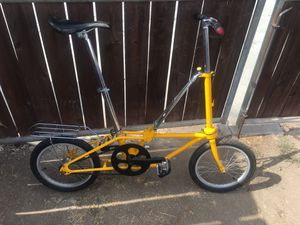 Dahon folding bike coaster brake single speed. Alloy hubs laced to alloy rims with new 16x1.75 tires. Aluminum handlebars. New 2 piece hollow tech cr for Sale in San Diego, CA