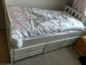 White Wooden Twin Bed Frame for Sale in Temecula, CA