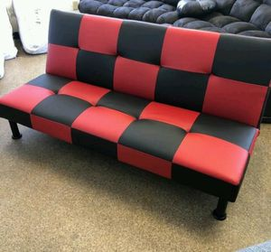 Brand New Red & Black Leather Checkered Leather Tufted Futon for Sale in Redmond, WA