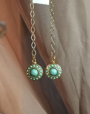 Turquoise and gold chain drop earrings for Sale in Columbus, OH
