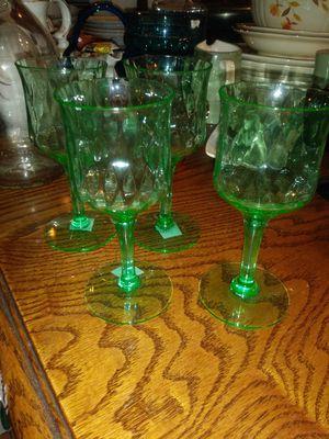4 green glass wine glasses for Sale in Crockett, CA