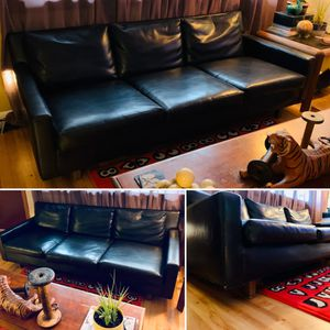 Vintage Mid Century Modern Low Profile Black Vinyl Sofa for Sale in Portland, OR