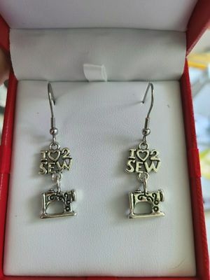 I love to sew sewing machine earrings tailoring mom grandma fashion for Sale in Miami Beach, FL