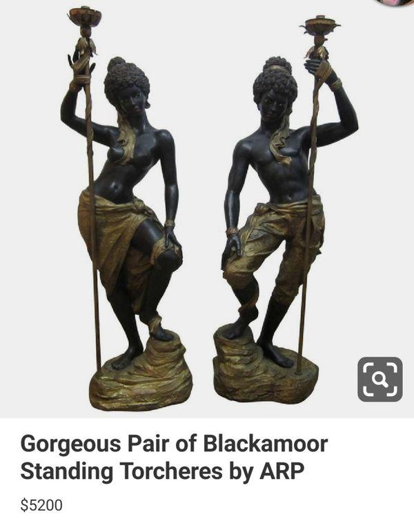 Antique French Blackamoor lamp