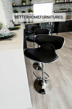 Set of 3 Modern Adjustable Barstools, bar stools, kitchen dining chairs, counter height with chrome base. Colors: Black, Red, White, Gray, Brown for Sale in Fort Lauderdale, FL