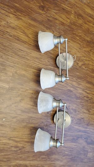 Brushed nickel frosted glass bath light fixtures for Sale in Graham, WA