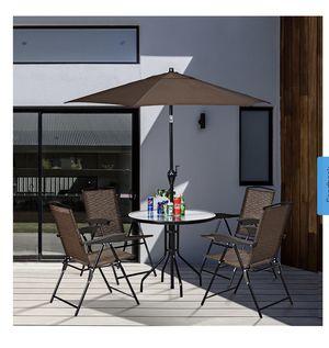 6PCS Patio Garden Furniture Set 4 Folding Chair Round Table Crank Tilt Umbrella for Sale in CA, US