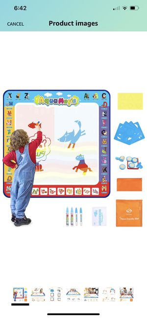 Aqua Magic Doodle Mat for Kids 40x40inch, Colorful Water Drawing Mat with 24 Accessories, Early Learning Educational Toy and Ideal Gift for Toddlers for Sale in Dover, DE