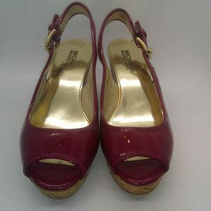 Michael Kors Red Sandal Wedges size 7M for Sale in Burleson, TX