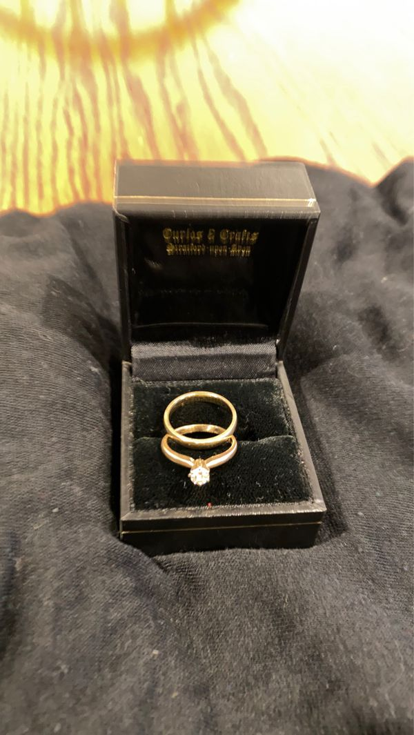 14 k gold wedding set ring size 51/2