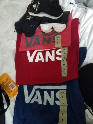 Van's mens tshirt and two packs of men nike socks and i pack of womens adidas socks for Sale in Fort Worth, TX