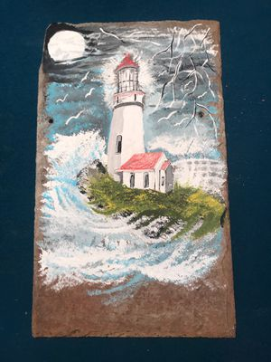 Hand painted lighthouse scene on slate for Sale in Martinsburg, WV