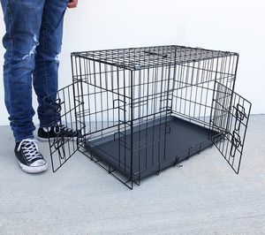 """New in box $35 Folding 30"""" Dog Cage 2-Door Folding Pet Crate Kennel w/ Tray 30""""x18""""x20"""" for Sale in South El Monte, CA"""