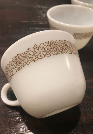 Set of 8 Vintage Pyrex Woodland Brown Milk Glass Coffee Tea Cups for Sale in Las Vegas, NV