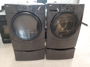 Kenmore front load washer and electric dryer set with pedestal in good condition with 90 day's warranty for Sale in Mount Rainier, MD