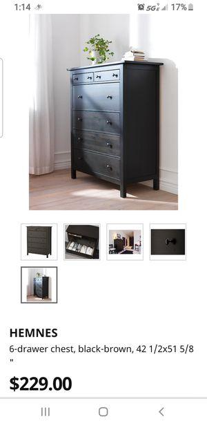 6 drawer Hemnes- ikea dresser . Black brown for Sale in Campbell, CA