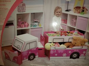 Kids Play Center Vehicle 5 Pieces Desk + Chair Toy Storage Bin Pink Ages 3+ for Sale in Chula Vista, CA