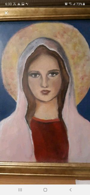 Handpainted oil painting of the virgin Mary on canvas with gold frame hangs on the wall for Sale in Southbridge, MA