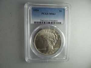 1924 Peace Silver Dollar, PCGS MS-63 -- VERY COOL CERTIFIED COIN! for Sale in Bolingbrook, IL
