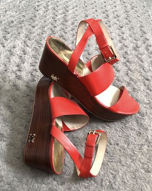 """Michael Kors wooden wedges size 10M Retail $185 Super cute. Great condition! Color orange leather upper, rubber outsole . Approx. 1"""" front & Wedges 3 for Sale in Washington, DC"""