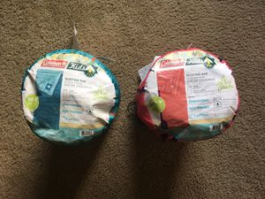 Coleman Youth sleeping bags set of 2 excellent condition for Sale in Joliet, IL
