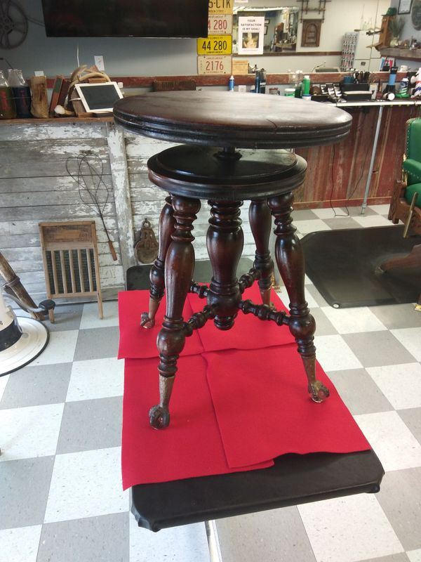 Antique Victorian Wooden Adjustable Piano Stool Glass Ball & Claw Feet