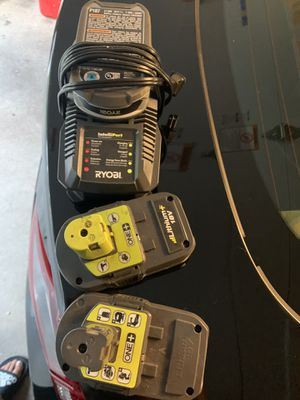 Ryobi charger and 2 batteries for Sale in Queens, NY