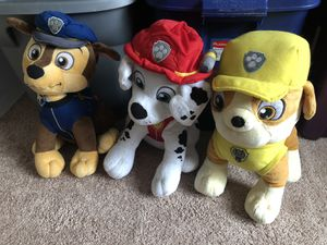 Paw patrol stuffed animals. 10 for all or 5 each for Sale in Columbia, MD
