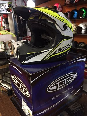 New matte black white and neon off road dirt bike motorcycle helmet $85 for Sale in Whittier, CA
