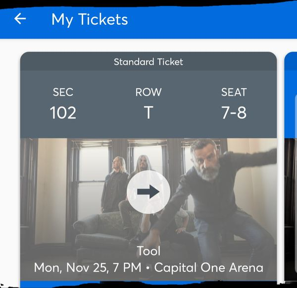Tool concert with Killing Joke- pair (2) tickets- Capital One Arena DC Monday, November 25, 2019- sec 102 row T seats 7-8