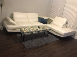 Off white leather couch for Sale in San Antonio, TX