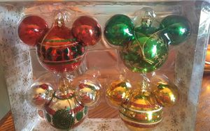 Disney Parks Mickey Mouse Head Icon Retro Glass Ornament Set Christmas Holiday for Sale in Spring Valley, CA