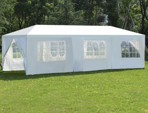 10'x30' White Outdoor Party Tent Patio Gazebo Canopy with Side Wall