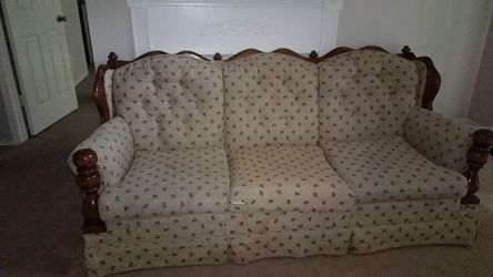Wooden couch with cushions for Sale in Chesterfield,  MO