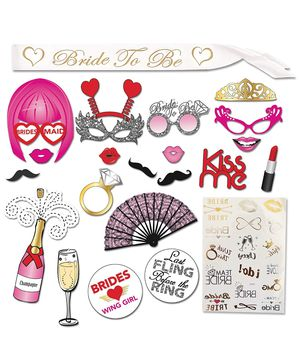 Bachelorette Party Decorations Kit - Bridal Shower Supplies | LARGE Bachelorette Party Photo booth Props (20 pieces) with Glitters, Bride to be Sash for Sale in Montclair, CA