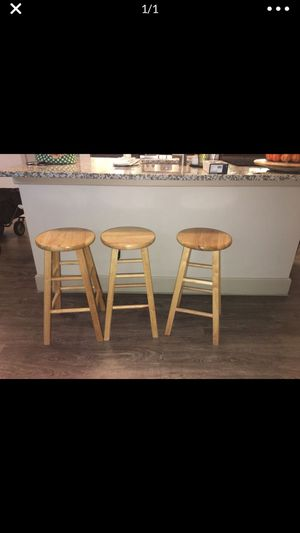 Three wooden bar stools good condition $40 for Sale in Porter, TX