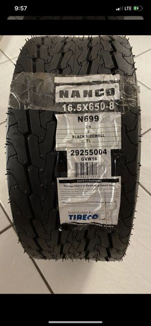 Nanco N699 Bias Low Profile Bias Tire 16.5X6.50-8 C/6 Ply for Sale in Sunrise, FL