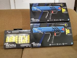 2 New Nerf Rival Apollo XV-700 Blue Blasters and 2 battle cases with 40x rounds refill pack. 50$ All New for Sale in Houston, TX