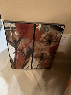 2 painted glass mirror for Sale in Houston, TX