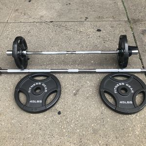 45 lbs plates / Olympic 7 Foot bar / Olympic curl bar / 25 lbs Plates for Sale in Queens, NY