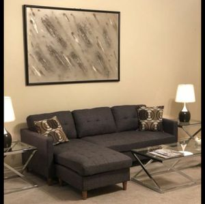 Brand New Grey Linen Sectional Sofa Couch + 2 Accent Pillows for Sale in Arlington, VA